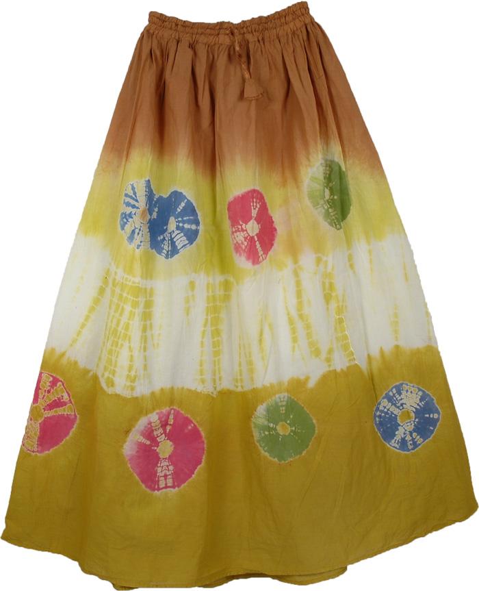 Multicolor Green Rings Tie Dye Skirt, Buttered Rum Rings Long Skirt