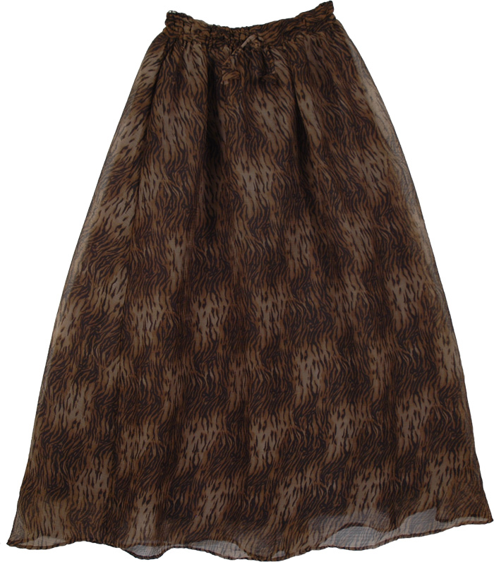 Choco Brown Fluffy Long Skirt, Wild Cat Cocoa Boho Long Skirt