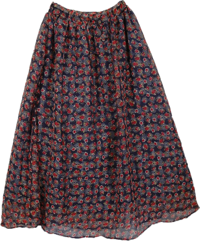 Neela Fluffy Long Skirt,  Boho Long Georgette Skirt