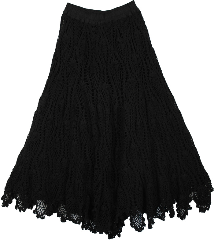 Long Black Cotton Skirt - Dress Ala