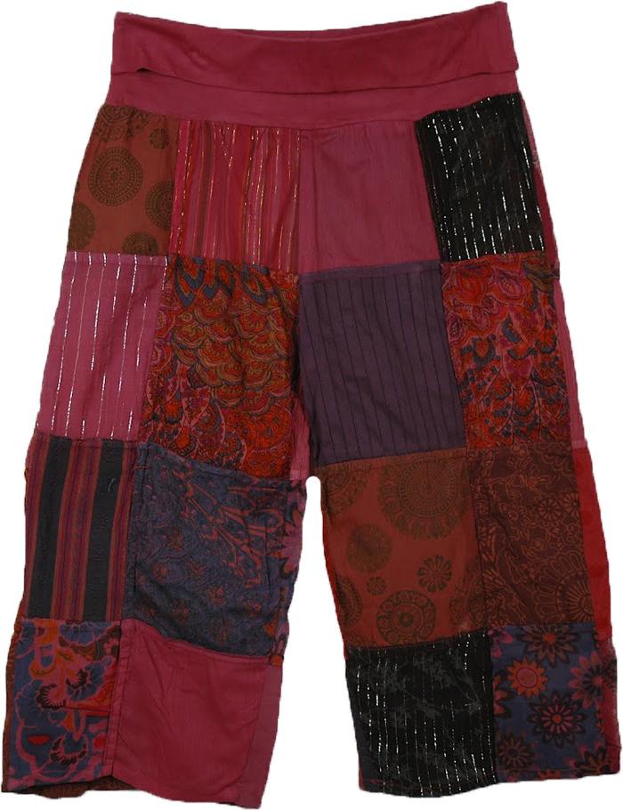 Indian Chestnut Patchwork Short Lounge Pants, Maroon Oak Patchwork Capri