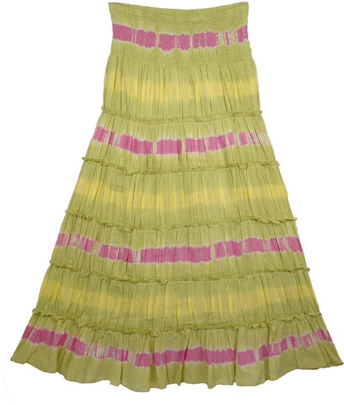 Green Tie Dye Fashion Long Skirt, Ensemble Tie Dye Designer Skirt
