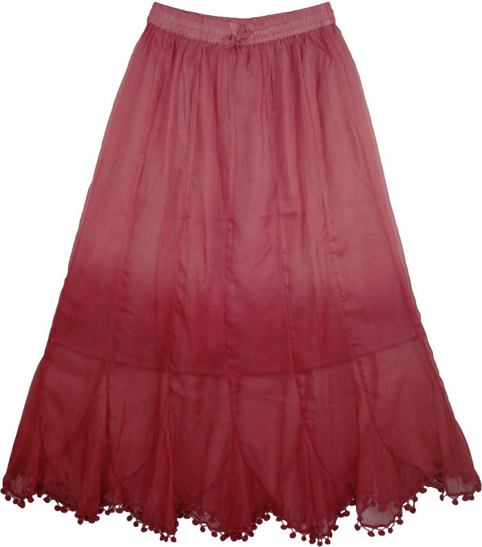Pink Designer Shaded Skirt, Pride in Pink Chiffon Long Skirt