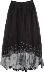 French Fashion Black and White Long Skirt
