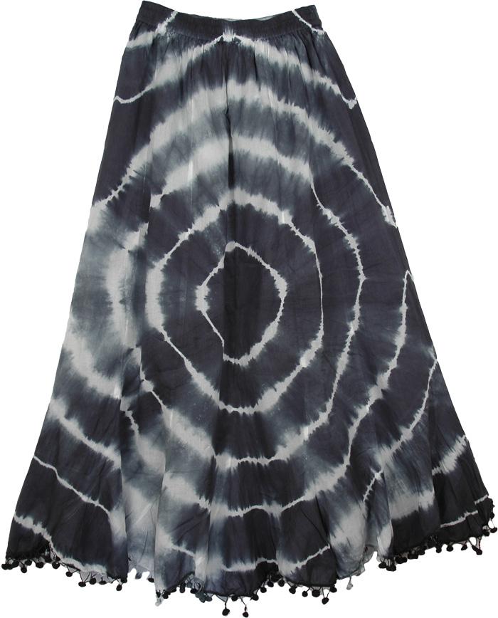 Vintage Tie Dye Circles Black Skirt, French Circles Black and White Long Skirt