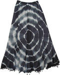French Circles Black and White Long Skirt