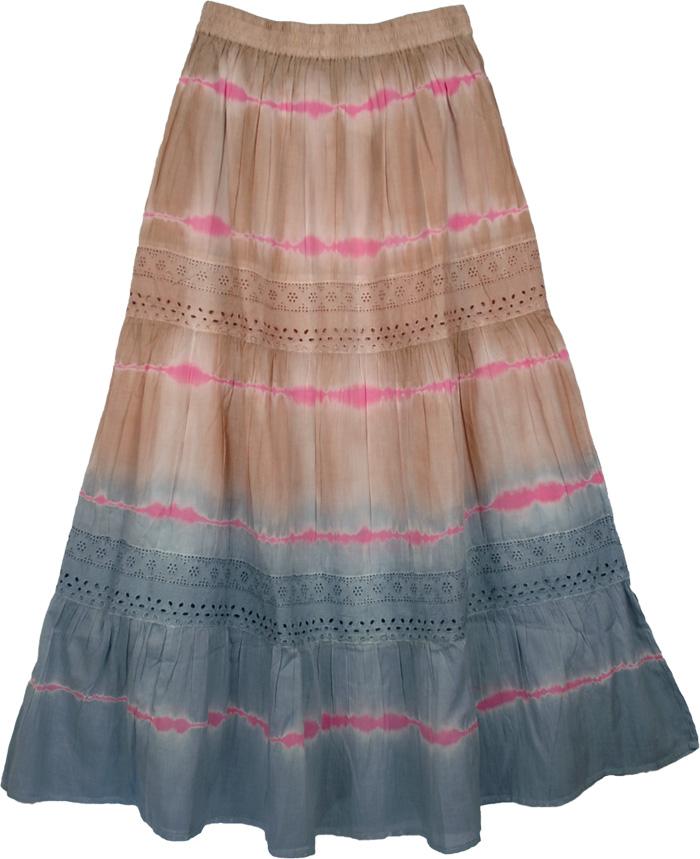 Grey Brown Fashion Long Skirt, Quick Sand Cotton Fashion Skirt