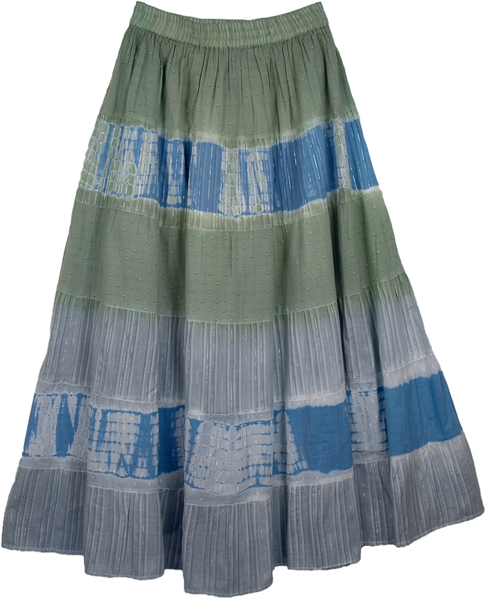 Tinsel Green Blue Fashion Long Skirt, Camouflage Womens Fashion Skirt