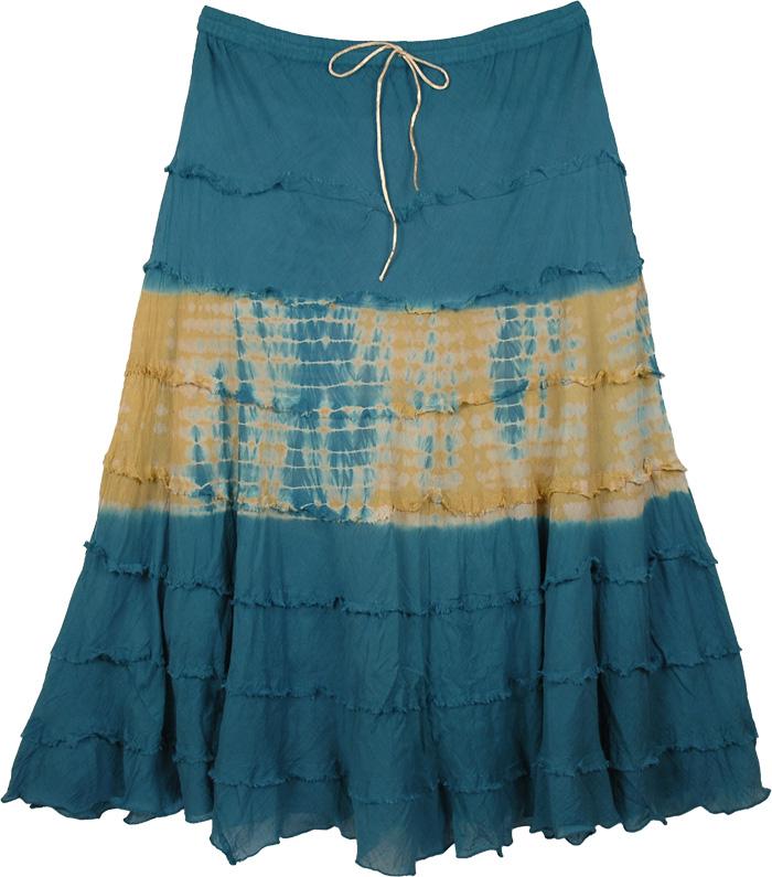 Blue Yellow Tie Dye Long Skirt, Savannah Tie Dye Gypsy Skirt