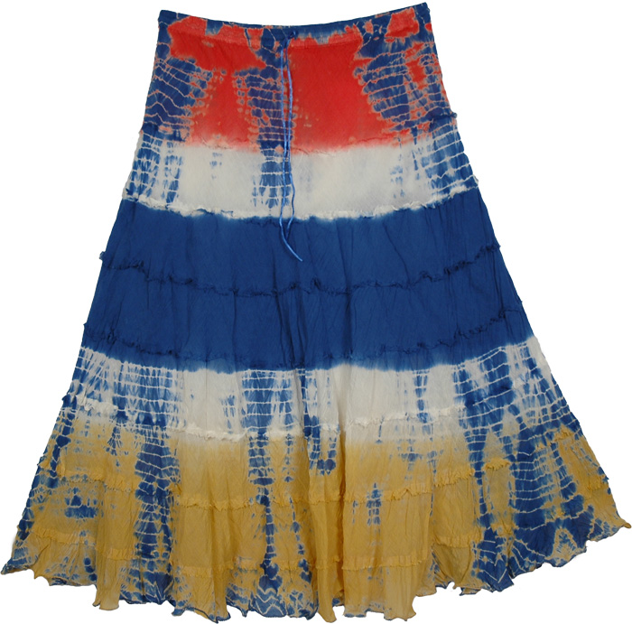 Yellow Red Blue Tie Dye Long Skirt, Alpine Tie Dye Gypsy Skirt