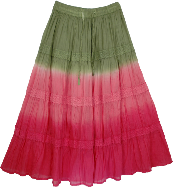 Pink Green Indian Tie Dye Skirt, Tie Dye Long Skirt Hibiscus Charm