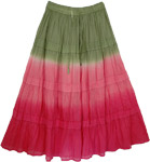 Tie Dye Long Cotton Hippie Skirt Hibiscus Charm