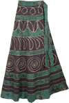 Como Green Wrap Long Skirt