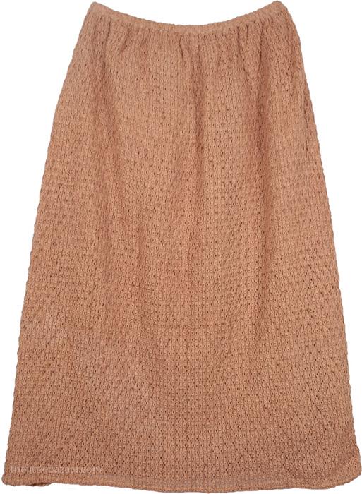 Dull Pink Crochet Skirt, Brass Boho Crochet Trendy Skirt