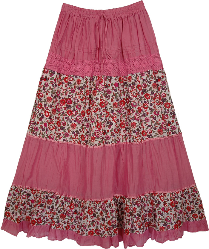 Laced Pink Flowers Long Skirt, Cadillac Pink Floral Women`s Skirt