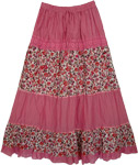 Laced Pink Flowers Long Skirt [3220]