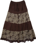 Rock Brown Floral Print Skirt