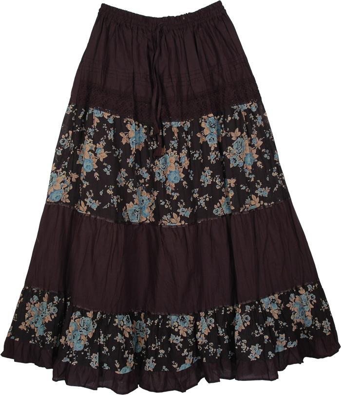 Laced Black Pattern Long Skirt, Black Bali Blue Floral Skirt
