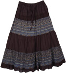 Black Kashmir Print Skirt