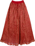 Bright Red and Gold Festivity Skirt