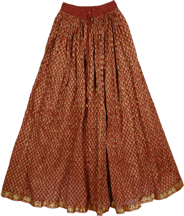 Brown Rust Gold Pattern Long Skirt, Burnt Umber Gold Skirt