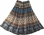 Bohemian Gypsy Ethnic Printed Blue Short Skirt