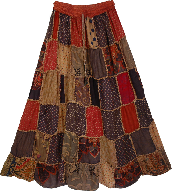 Recycled Patches Long Skirt , Polka Patches Boho Long Skirt