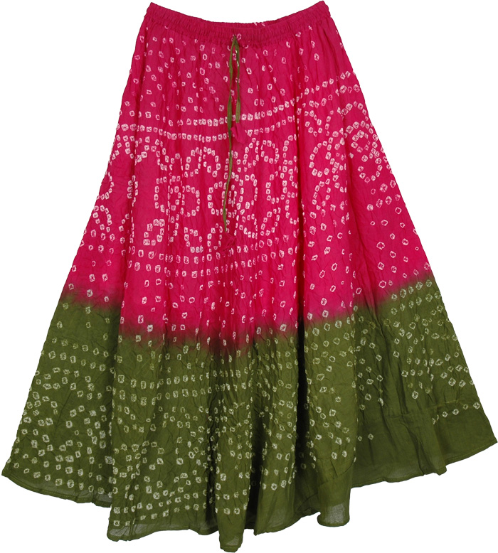 Pink Green Tie Dye Long Skirt, Razzmatazz Tie Dye Long Skirt 33L