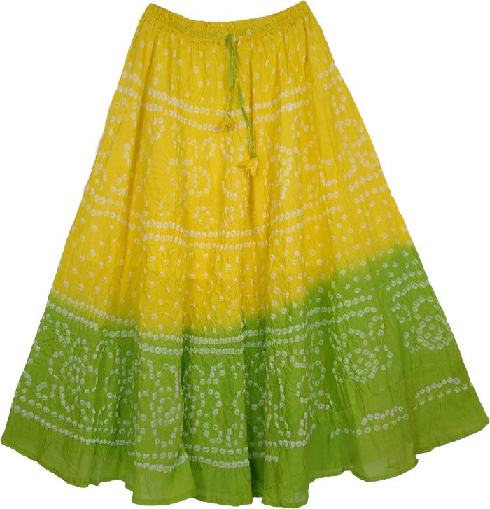 Yellow Green Tie Dye Long Skirt, Wasabi Tie Dye Long Skirt 33L