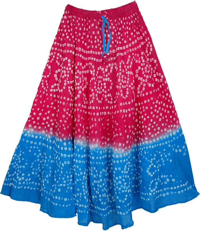 Pink Blue Tie Dye Long Skirt, Pink Cerulean Tie Dye Long Skirt 33L