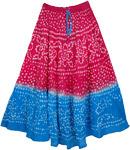 Pink Blue Tie Dye Long Skirt [3245]
