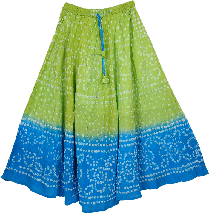 Green Blue Tie Dye Long Skirt, Chelsea Cucumber Tie Dye Long Skirt 33L