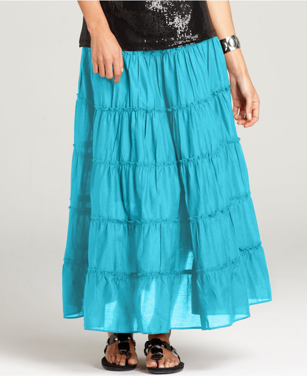Caribbean Blue Tiered Maxi Skirt