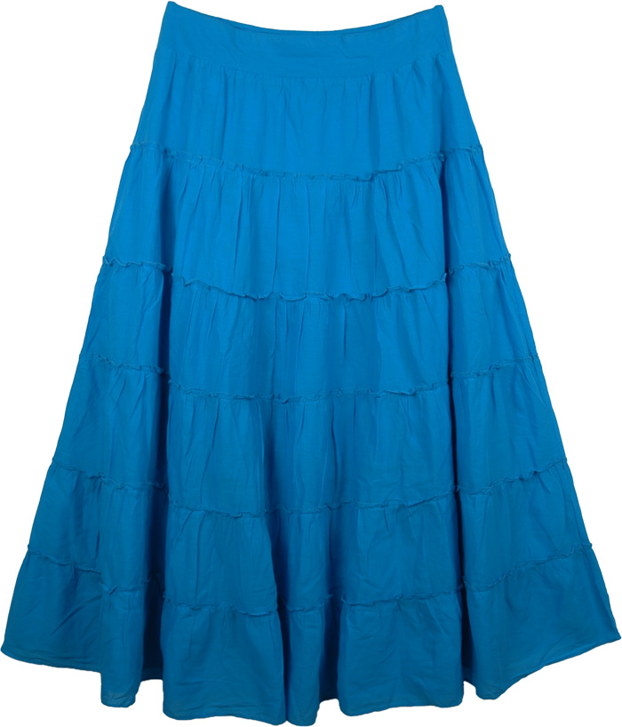 Tiered Blue Maxi Silhouette Skirt , Caribbean Blue Tiered Maxi Skirt