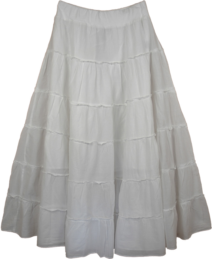 Tiered White Maxi Silhouette Skirt , White Sweep Tiered Maxi Skirt