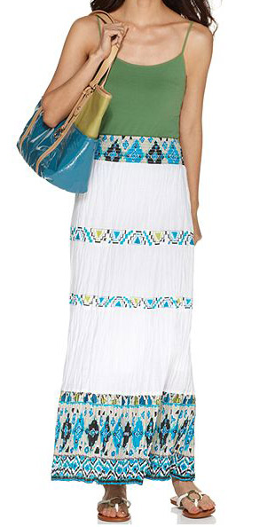 Exotic Print Tiers Casual Long Skirt