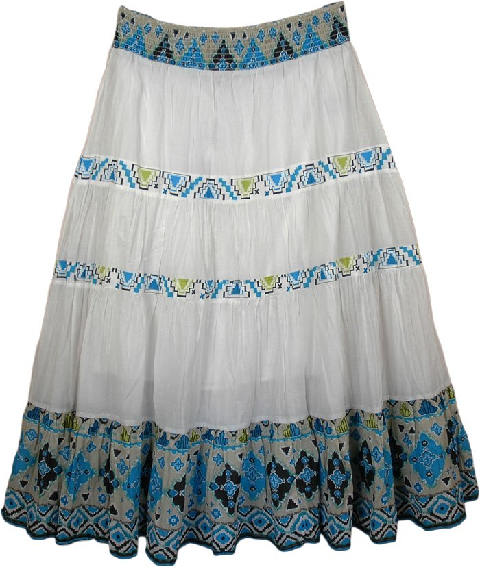 Turquoise and Green Long Skirt , Exotic Print Casual Long Ikat Skirt