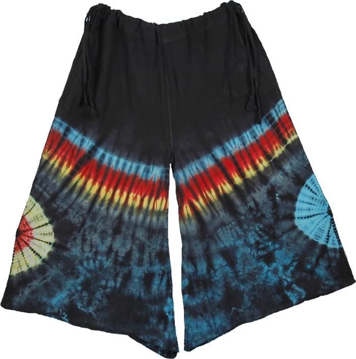Tie Dye Colorful Pants, Tantra Tie Dye Cotton Gaucho Pant