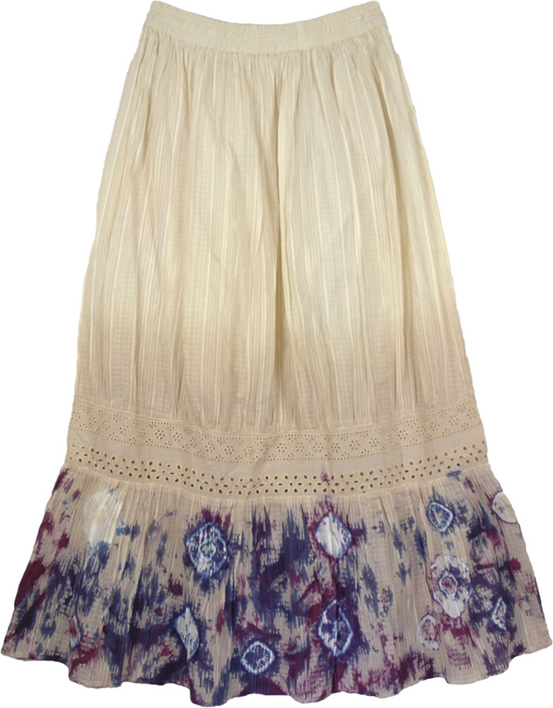 Cream Fashion Long Tie Dye Skirt, Wine and Finn Tie Dye Skirt