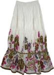 Beads Floral White Skirt