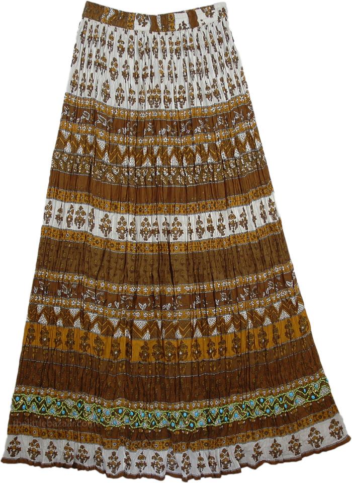 Brown Printed Tall Skirt , Lisbon Brown Cotton Tall Skirt