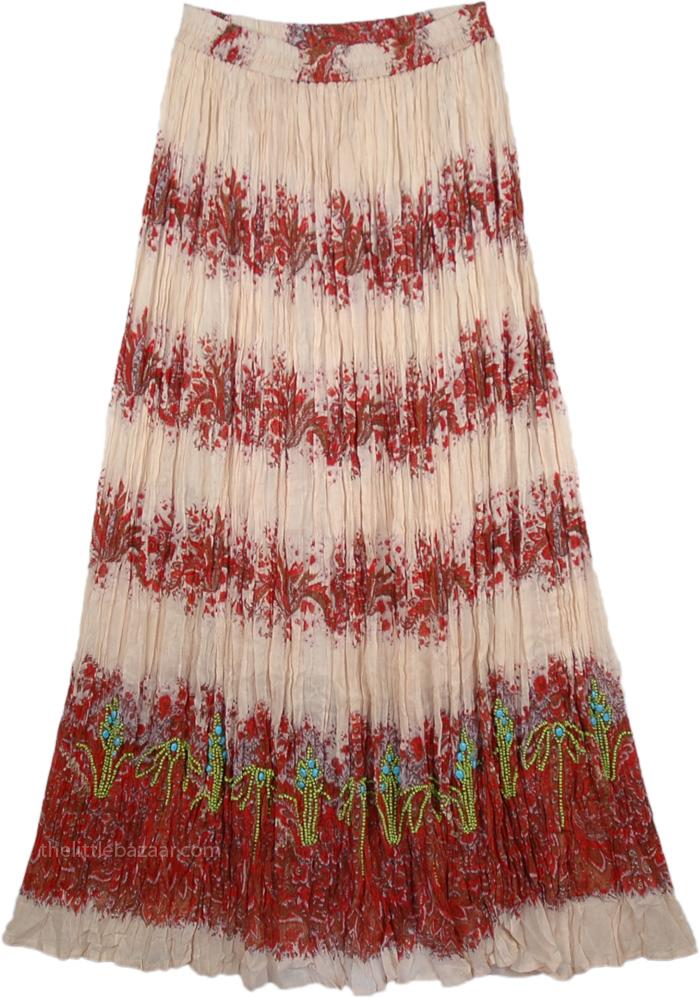 Elegant Tall Skirt with Floral Print, El Salva Flora Printed Maxi Skirt