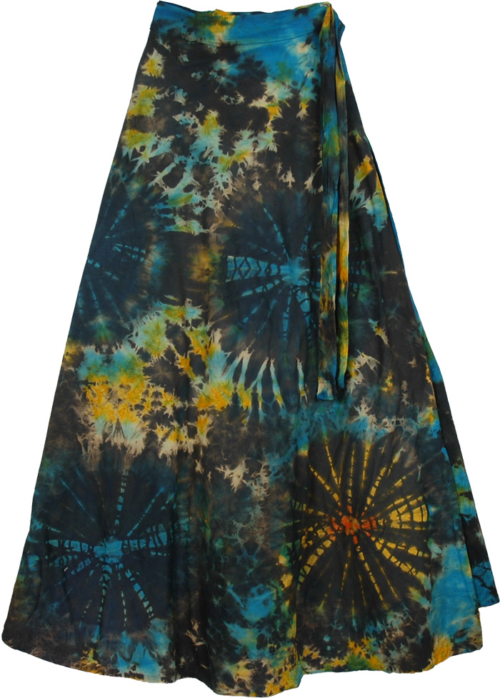 Black Tie Dye Wrap Around Long skirt, Roma Bohemian Wrap Long Skirt
