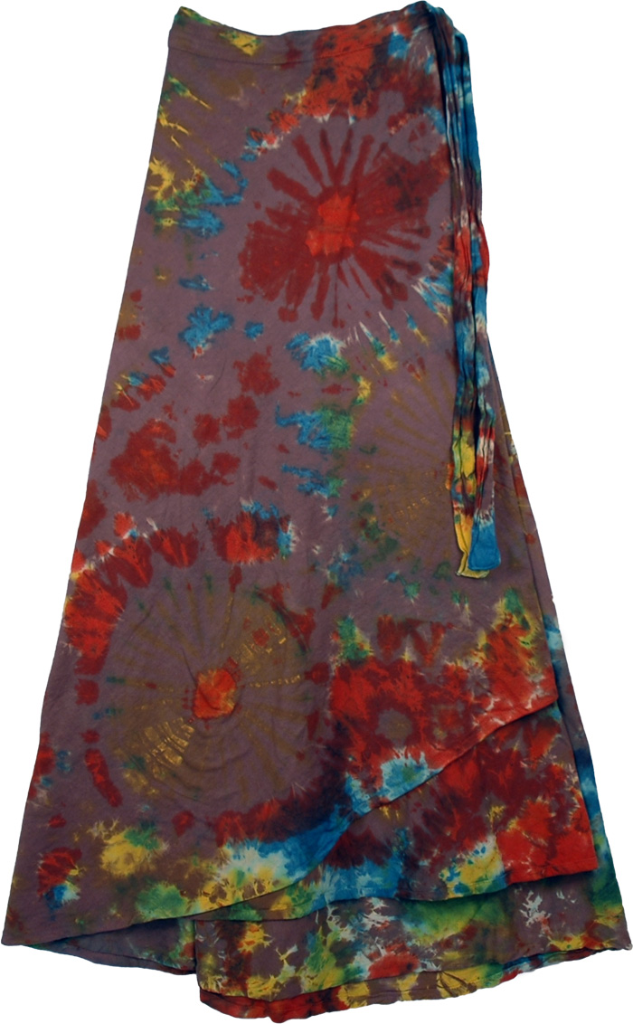 Wheels Colorful Tie Dye Long skirt , Kaleidoscope Tie Dye Wrap Long Skirt