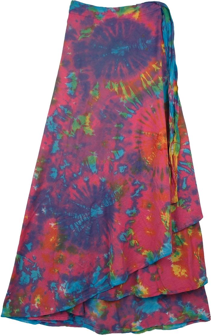 Crete Tie Dye Indian Wrap Long Skirt , Killarney Tie Dye Wrap Around Long Skirt