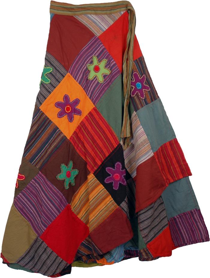 Patchwork Flowers Wrap Around Skirt, Deep Floral Wrap Around Fashion Skirt