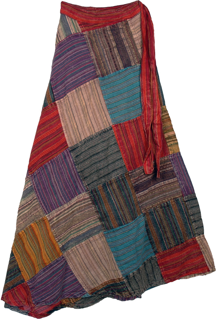 Tall Patchwork Cotton Skirt in Stripes, Groovy Fall Tall Wrap Around Skirt