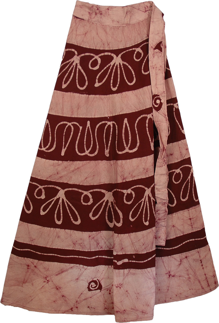 Maroon Wrap Long Skirt, Heath Rose Long Wrap Ethnic Skirt