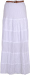 Tiered Eyelet Swiss Dot Maxi White Skirt
