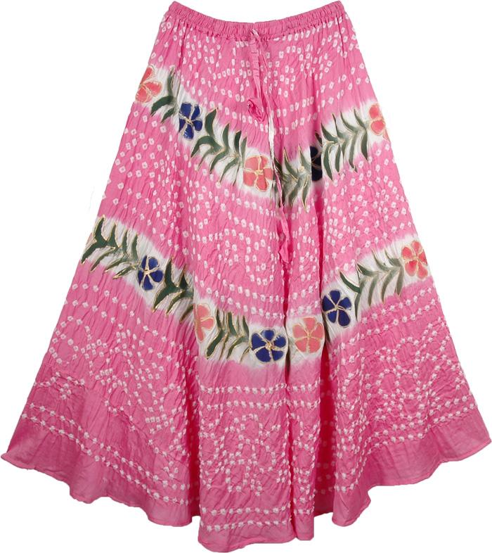 Summer Pink Long Skirt, Deeply Blushed Cotton Skirt
